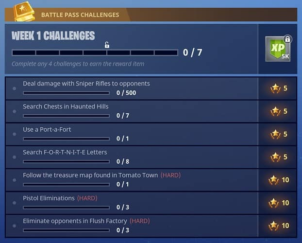 Fortnite Season 4 Weekly Challenges Guide Week 1 Updated Weekly