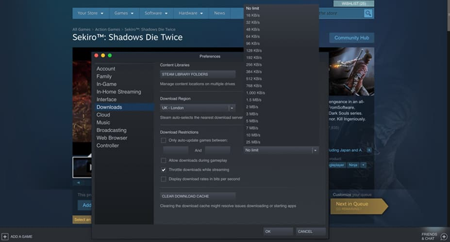 steam download slows to 0
