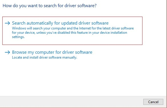 Search For Updated Driver Software
