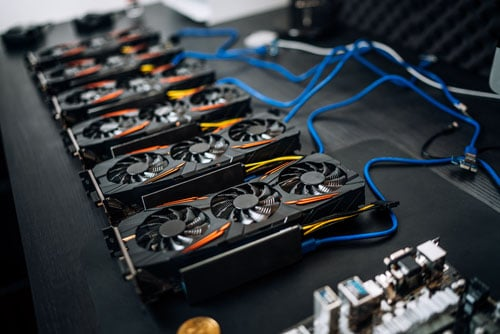 Gpu cards preparing to mine cryptocurrency, devices on mining ri