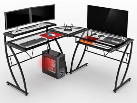 Z Line Designs Feliz Glass L Desk