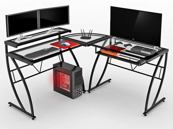 Z Line Designs Feliz Glass L Desk