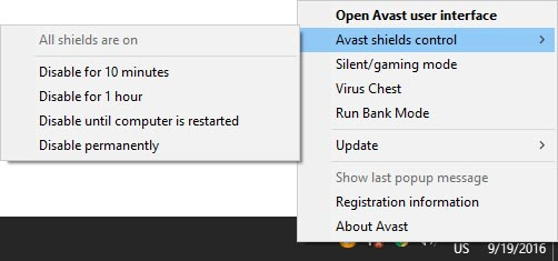 Turning Off Avast Antivirus Entirely