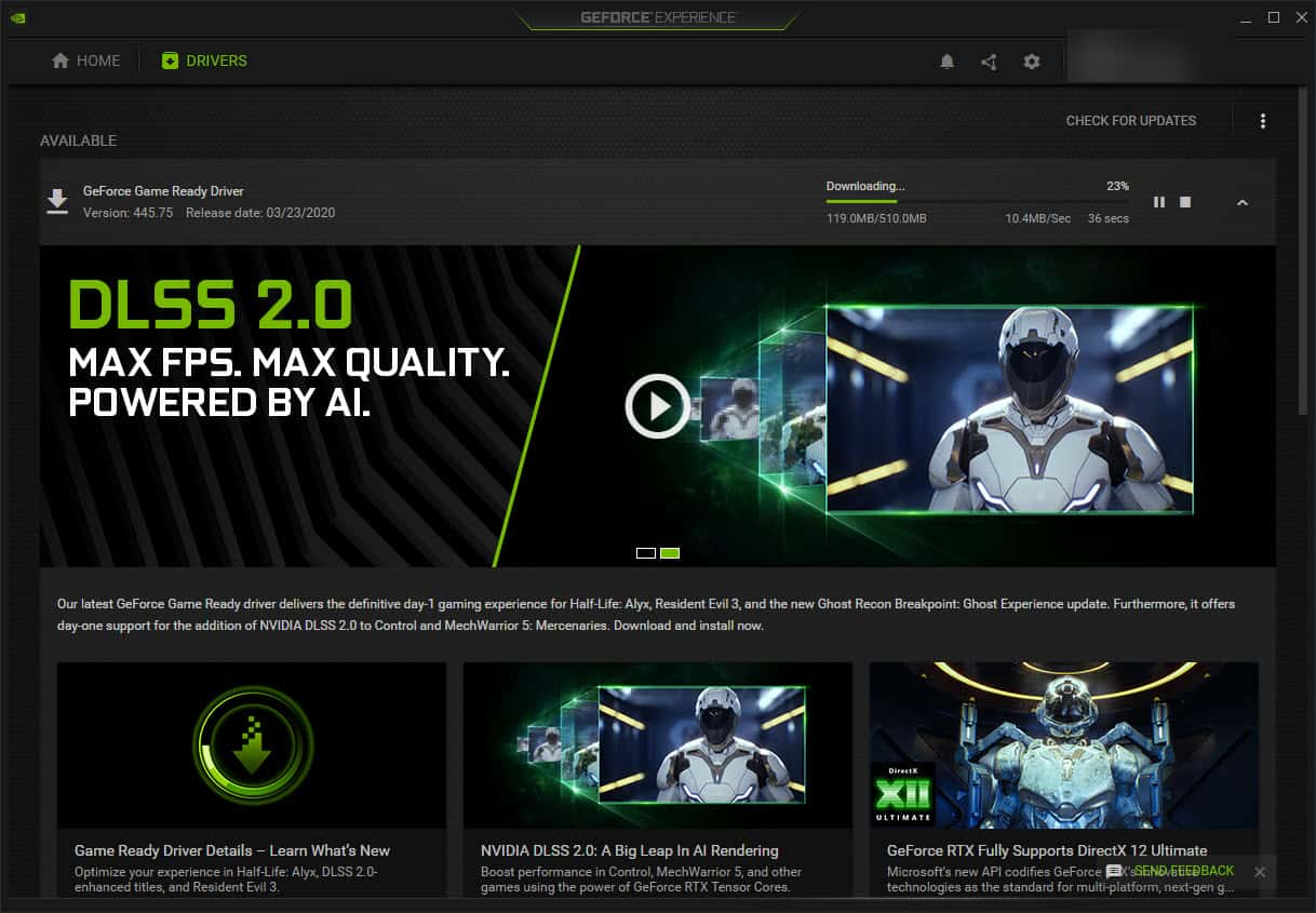 NVIDIA GeForce Experience Downloading A New Driver