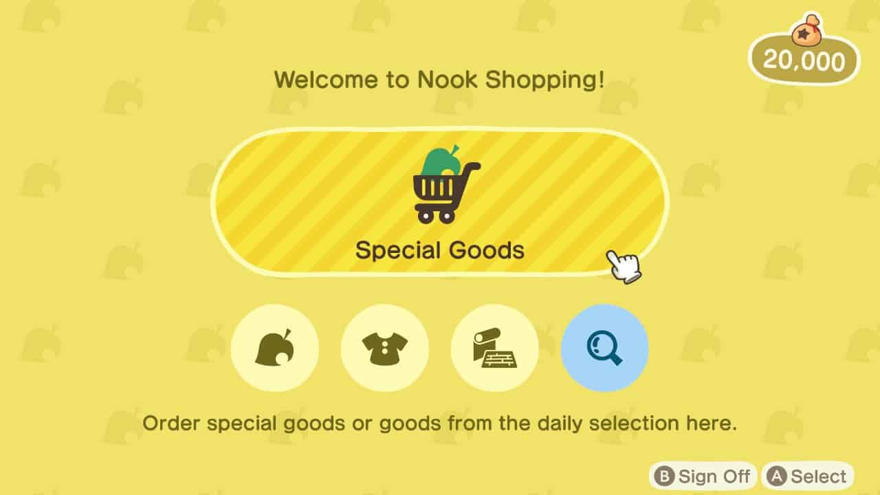 animal crossing new horizons nook shopping