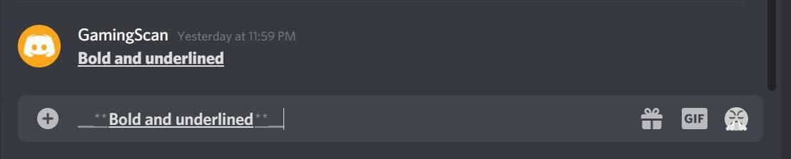 Discord Underline Bold Formatting