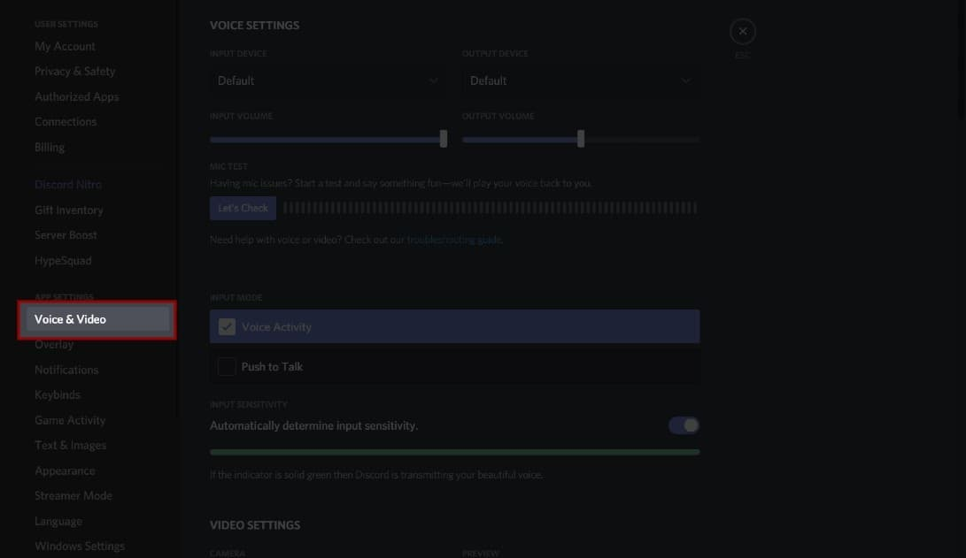 Discord Screen Share No Audio Voice and Video Settings