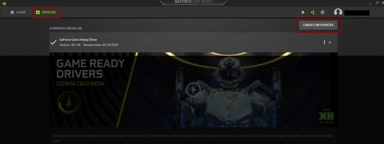NVIDIA GeForce Experience Check For Updates
