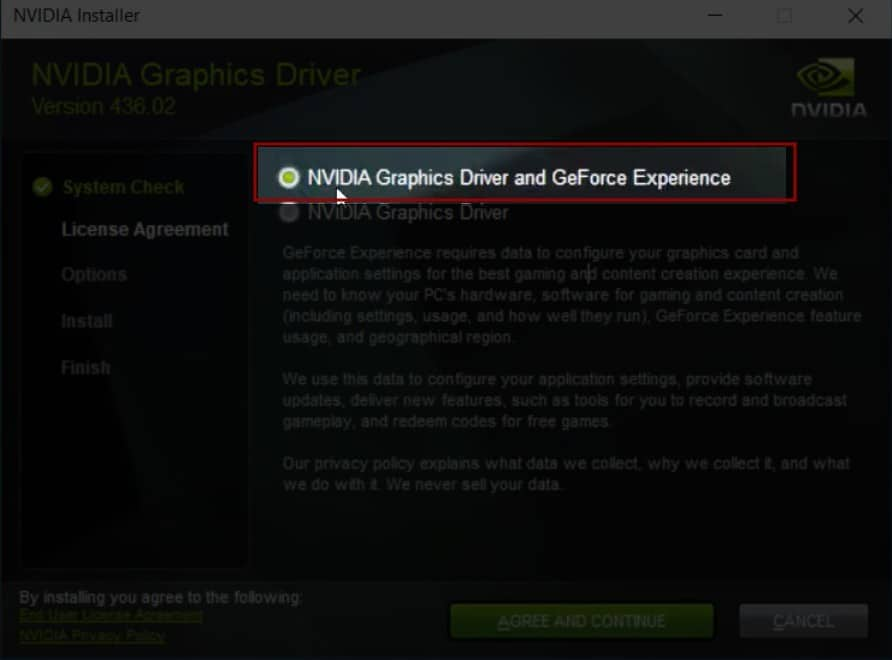 NVIDIA GeForce Experience Installer Settings