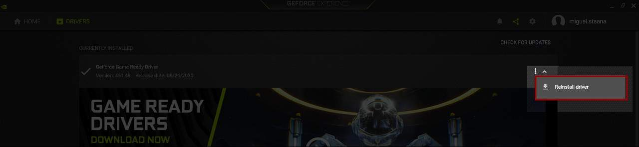 NVIDIA GeForce Experience Reinstall Drivers