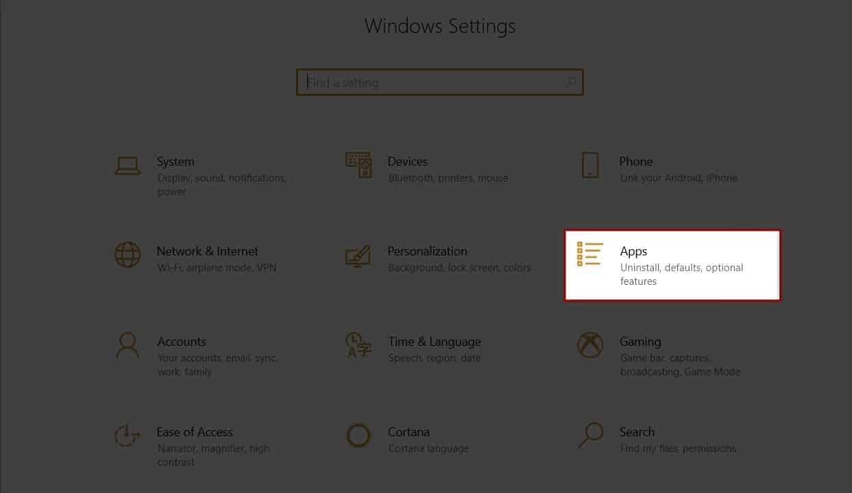 Windows 10 Setings Apps