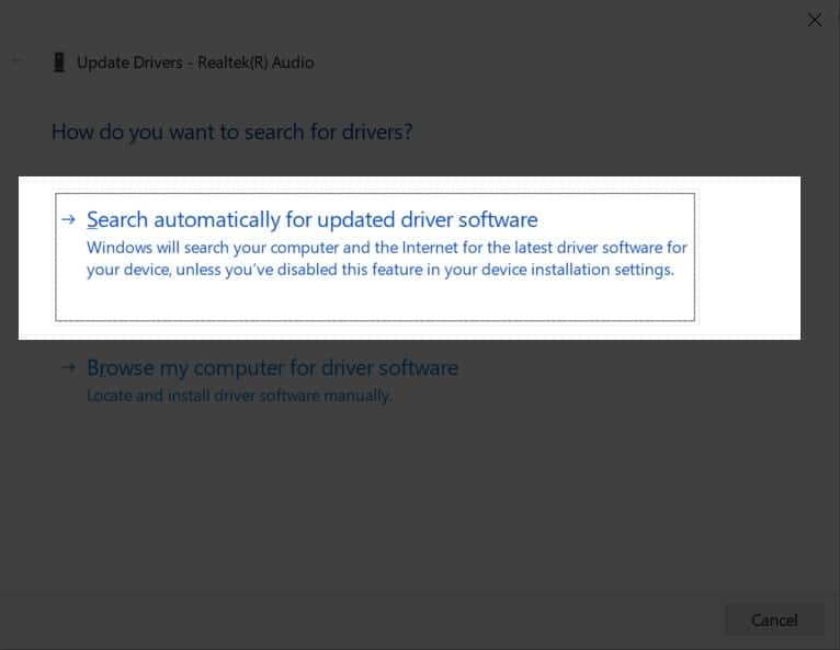 Windows 10 Updating Audio Drivers Automatically