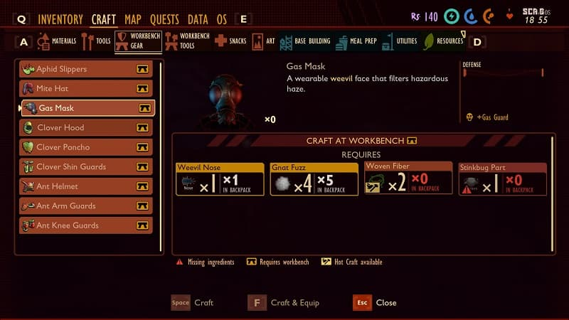 grounded how to craft armor