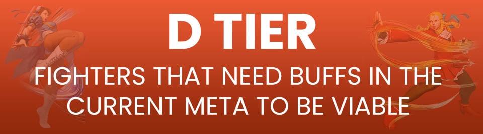 Street Fighter V Tier List D Tier