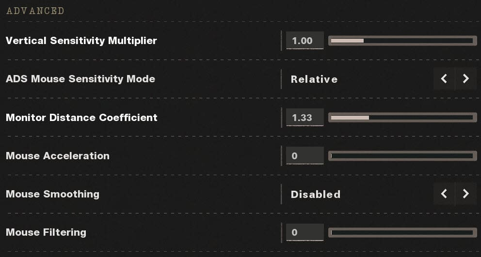 CoD Black Ops Cold War Advanced Mouse Settings