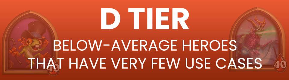 Hearthstone Battlegrounds Tier List Tier D
