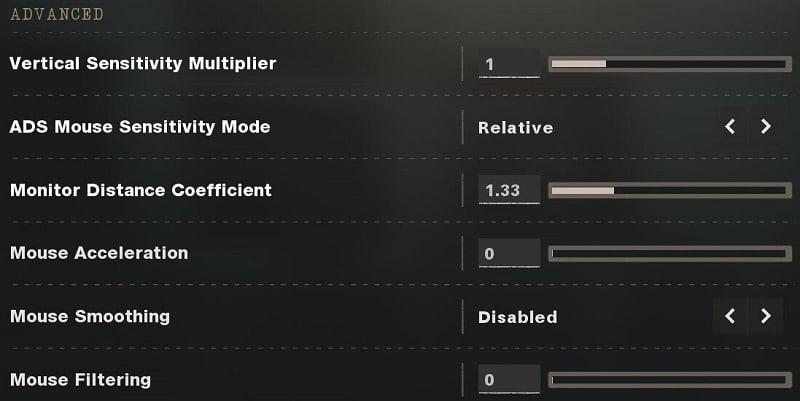 Call of Duty Black Ops Cold War Advanced Mouse Sensitivity Settings