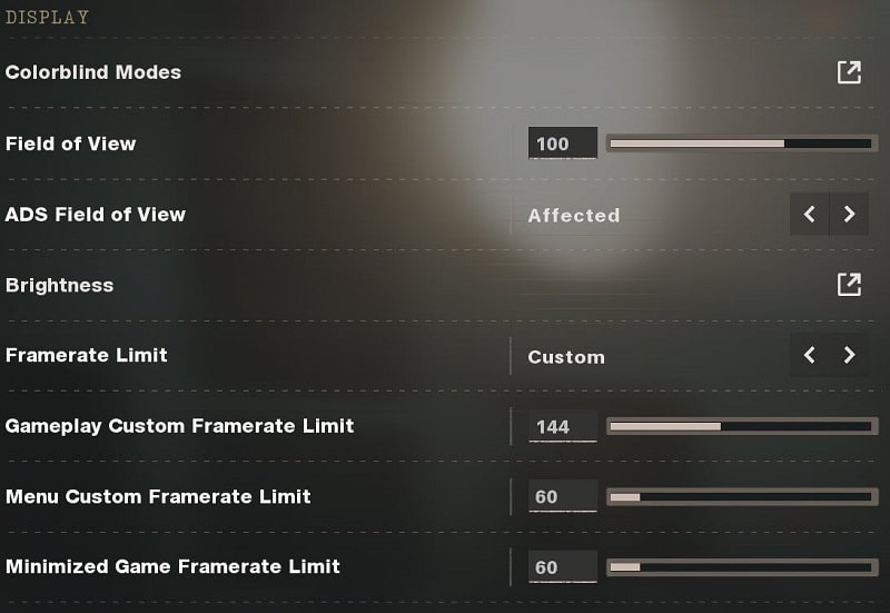 Call of Duty Black Ops Cold War Display Settings