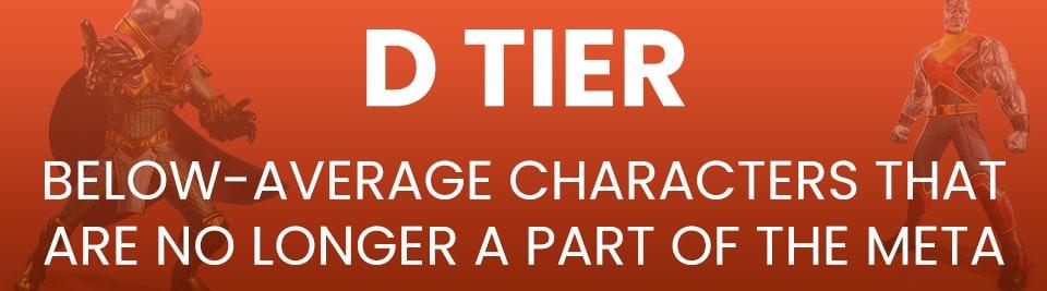 Marvel Strike Force Tier List D Tier