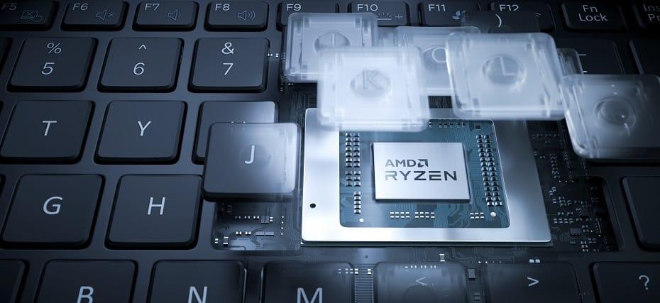 Stylized render of AMD Ryzen Mobile Processor inside a laptop (non PRO)