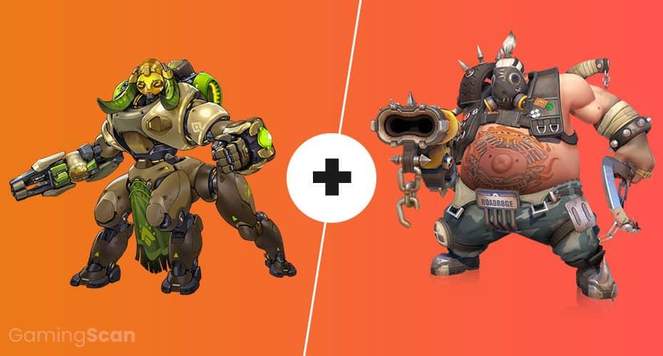 Overwatch Orisa and Roadhog