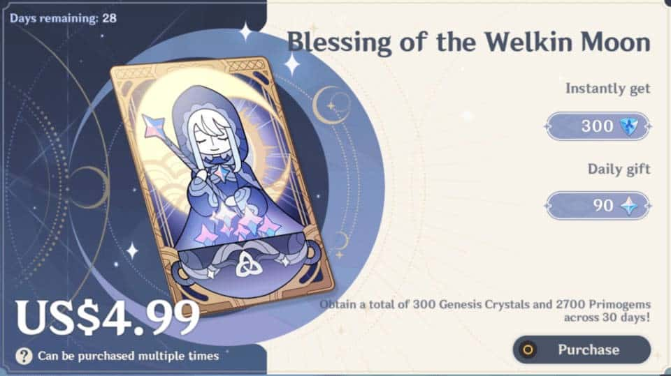 Genshin Impact Blessing of the Welkin Moon